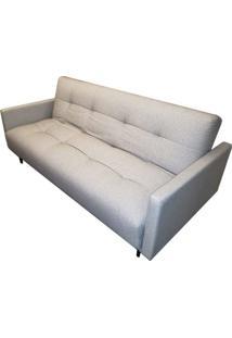 Sofa Cama Flip Com 3 Lugares Assento Linho Cinza Claro Base Madeira - 49827 Sun House