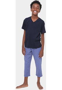 Pijama Infantil Lupo Longo Masculino - Masculino-Azul