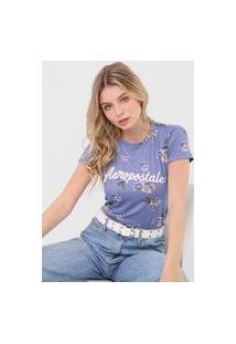 Camiseta Aeropostale Floral Azul