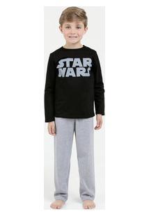 Pijama Infantil Estampa Star Wars Manga Longa Disney