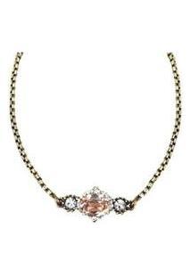 Colar Armazem Rr Bijoux Chocker Pedra Rose - Feminino-Dourado