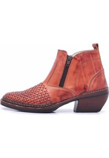 45ec21b08fbe5 Bota Cano Curto Em Couro Top Franca Shoes Pinhão