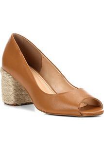 Peep Toe Couro Shoestock Salto Bloco Corda - Feminino-Caramelo