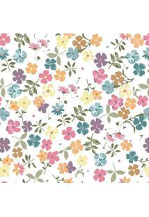 Papel De Parede Floral- Laranja & Verde- 300X0,58Cm