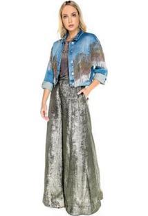 Jaqueta Jeans Com Bordado Degradê Caos Feminina - Feminino-Azul