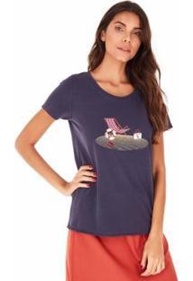 Camiseta Sidewalk Cadeira De Praia Feminina - Feminino-Azul+Marinho