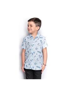 Camisa Social Juvenil Menino Manga Curta Estampada Casual