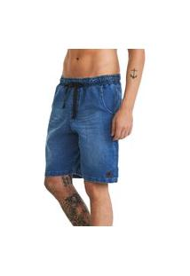 Bermuda Jeans Moletom Denim Stretch Lavibora Escura