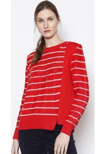 Blusão Listrado Em Moletom- Vermelho & Branco- Herinhering