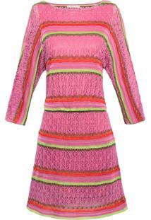 Vestido Tricô Listras - Rosa