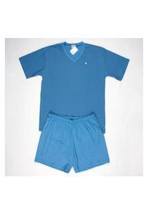 Pijama Curto Masculino 100% Algodáo Gola V Brezzi Estampa Geométrica Cor Azul