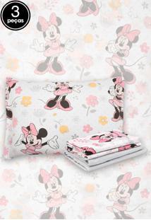 f2f89baa2b Jogo De Cama 3Pçs Solteiro Santista Infantil Disney Minnie Happy Cinza