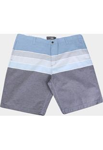 Bermuda Gajang Estampada Plus Size Masculina - Masculino-Azul