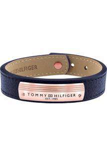 Pulseira Tommy Hilfiger Aço E Couro Azul - 2790180