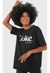 Camiseta Coca-Cola Jeans Lettering Preto - Preto - Feminino - Algodã£O - Dafiti