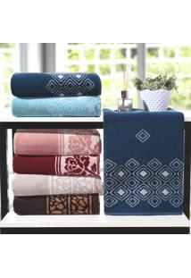 Kit Toalha De Rosto Elegance Azul Dark - 4 Un