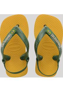 Chinelo Infantil Havaianas New Baby Brasil Logo Com Elástico Amarelo