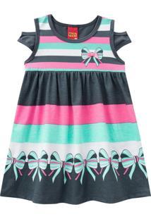 Vestido Kyly Manga Curta Multicolorido - Tricae