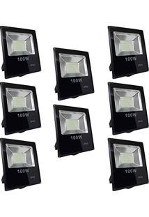 Refletor Led 100W Smd Holofote Bivolt Prova D´Água Branco Frio Kit 8