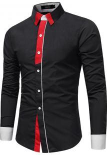 Camisa Masculina Slim Casual Manga Longa - Preto P