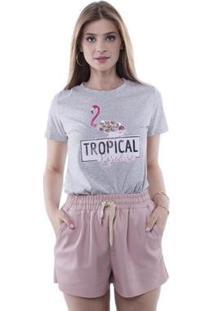 Camiseta Tropical Paradise Aplicação Pedras Pop Me Feminina - Feminino