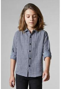 Camisa Infantil Double Face Vichy Reserva Mini Masculina - Masculino-Preto+Branco