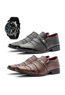 2 Pares Sapato Social Fashion Com Relógio New Masculino Preto E Café