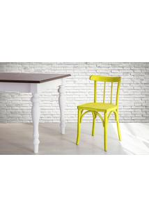 Cadeira De Madeira Country Amarela Torneada Com Encosto E Assento Anatômico Justine - 43X47,5X78,5 Cm
