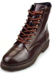 9f5312cd0 Bota Love Shoes Cano Curto Coturno Cadarço Zíper Café
