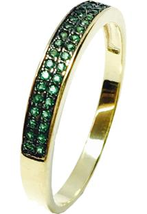39ad40bee6b97 Anel Kumbayá Meia Aliança Semijoia Banho De Ouro 18K Cravação De Zircônia  Verde Esmeralda Detalhe Em