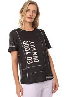 Camiseta Morena Rosa Estampada Preta/Off-White