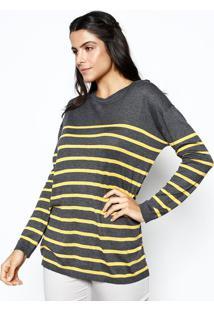 Blusão Em Tricô Listrado- Cinza & Amarelo- Heringhering