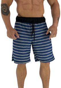 Bermuda Masculina Alto Conceito Moletom Azul Listrado Branco Sensation