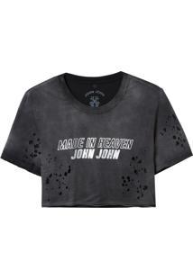 Camiseta John John Jj Refletivo Malha Algodão Preto Feminina (Preto, P)