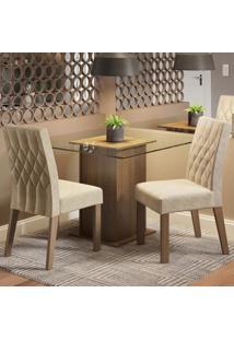 Conjunto Sala De Jantar Madesa Tati Mesa Tampo De Vidro Com 2 Cadeiras Marrom - Tricae