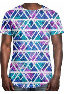 307559b2c Camiseta Longline Over Fame Tecno Geométrico Multicolorido