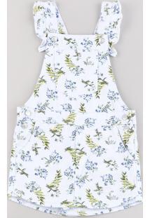 Jardineira Short Saia De Sarja Infantil Estampada Floral Com Babado Branca