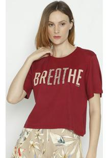 "Camiseta Animal Print ""Breathe""- Bordã´ & Bege- Sommesommer"