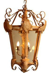 Lustre Pendente Decorativo De Metal Envelhecido Potsdam Com 4...