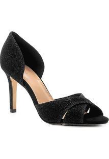 Peep Toe Shoestock Salto Fino Lurex - Feminino-Preto