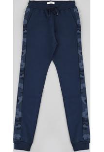 Calça Juvenil Em Moletom Com Faixa Lateral Estampada Camuflada Azul Marinho