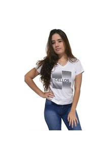Camiseta Feminina Gola V Cellos Degradê Premium Branco