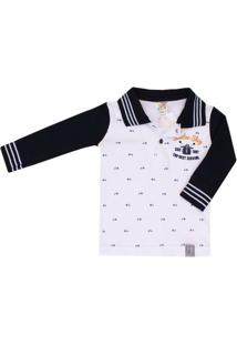 Camiseta Polo Bebê Pulla Bulla - Masculino-Branco