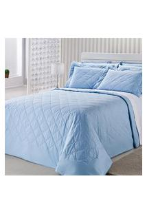 Colcha Royal Comfort Matelasse Percal 233 Fios Queen Azul Plumasul