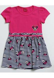 Vestido Infantil Estampa Minnie Manga Curta Disney
