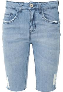 Bermuda Jeans Malwee Ciclista Estonada Azul