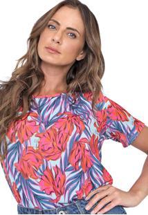 Camiseta Lança Perfume Floral Azul/Rosa
