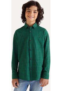 Camisa Mini Pf Ml Vichy Medio Verde