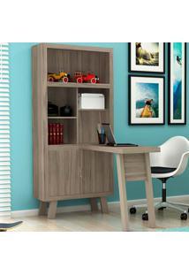 Estante Com Mesa Para Computador Me4125 - Tecno Mobili - Carvalho / Fendi