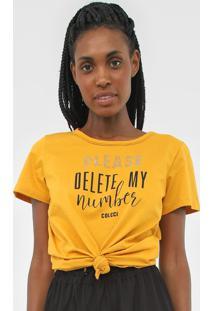 Camiseta Colcci Lettering Amarela - Amarelo - Feminino - Algodã£O - Dafiti